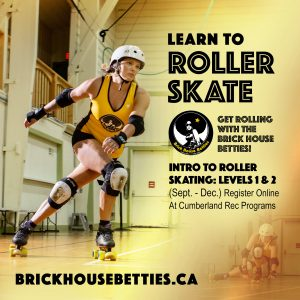 Roller skater on yellow background with black text that says Learn to Roller Skate. Register online at Cumberland Rec programs.